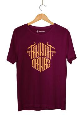 HH - Tankurt Manas Tipografi Bordo T-shirt
