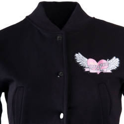 Hyper X - Angel Crop Top Siyah Kolej Ceket - Thumbnail