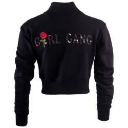 Hyper X - Girl Gang Crop Top Siyah Kolej Ceket - Thumbnail