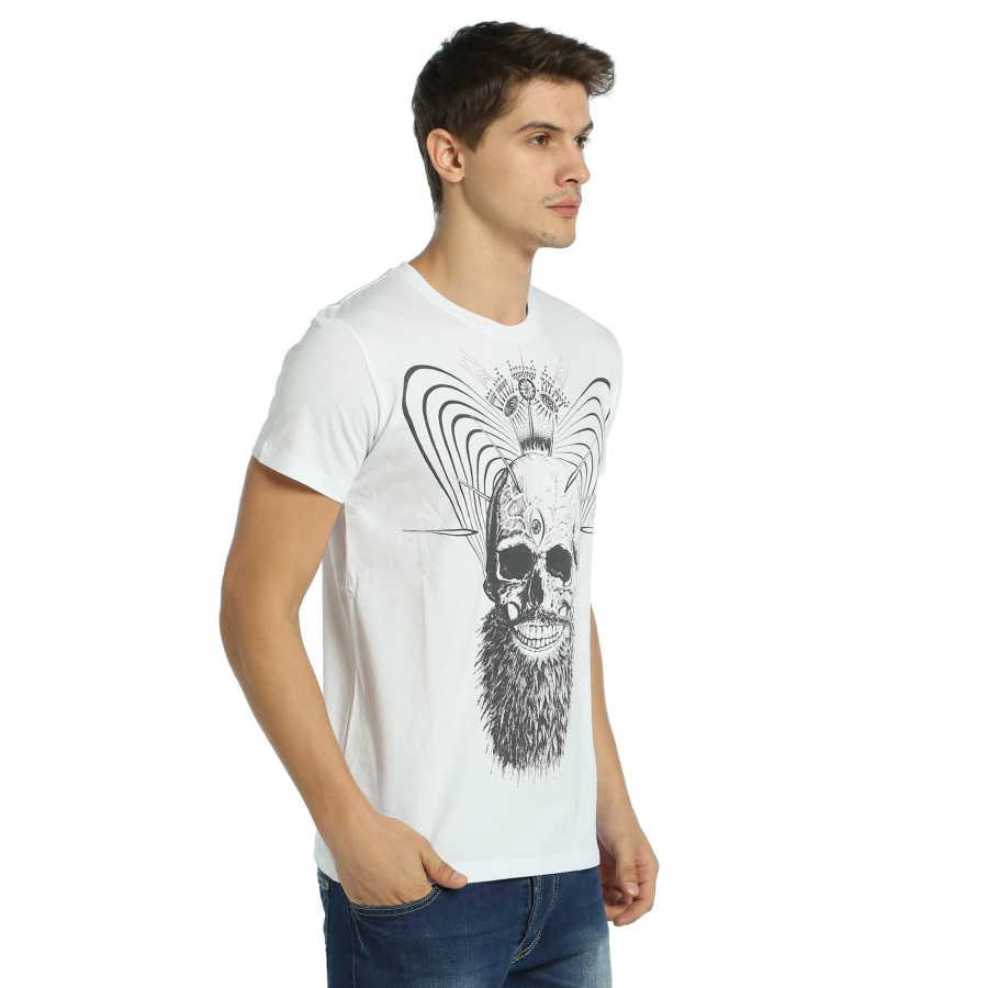 Bant Giyim - Illuminated Skull Beyaz T-shirt