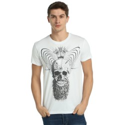 Bant Giyim - Illuminated Skull Beyaz T-shirt - Thumbnail