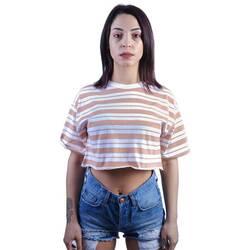 Kahve Rengi Çizgili Beyaz Crop T-shirt - Thumbnail