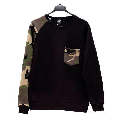 Hyper X - Kamuflaj Kol Swag Cepli Siyah Sweatshirt