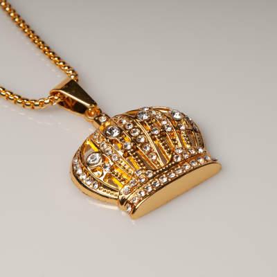 King Taç Taşlı Gold Kolye