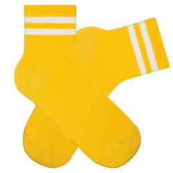 SA - Beyaz Çizgili Sarı Çorap - Thumbnail