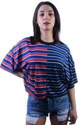 Kırmızı Mavi Çizgili Crop T-shirt - Thumbnail