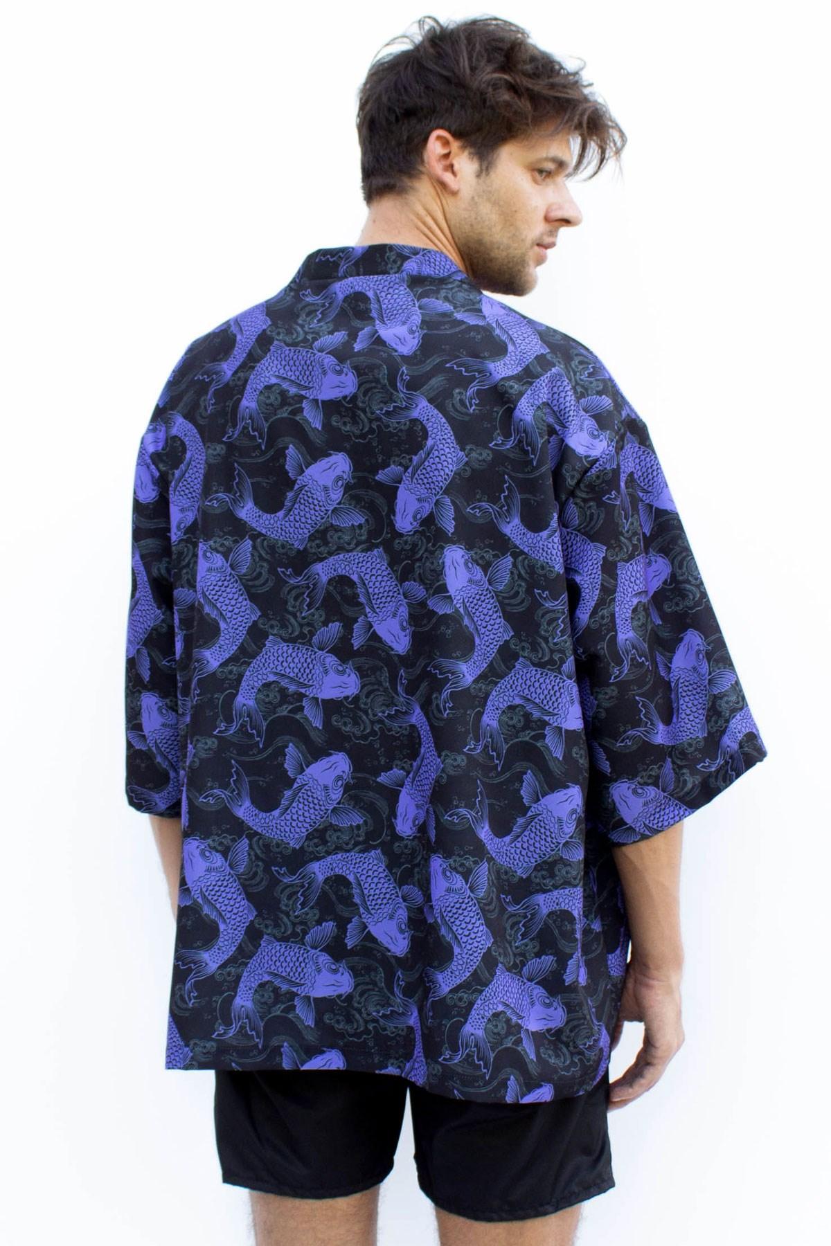 Koi Allover Baskılı Kimono - Thumbnail