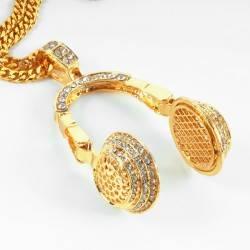 Kulaklık Taşlı Büyük HipHop Gold Kolye - Thumbnail