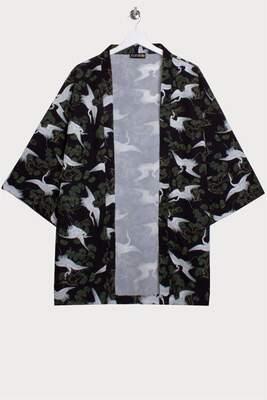 Leylek Allover Baskılı Kimono