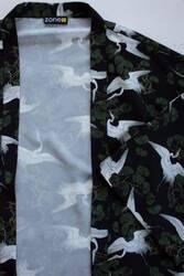Leylek Allover Baskılı Kimono - Thumbnail
