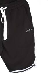 Man Beyaz Şeritli Siyah Şort - Thumbnail