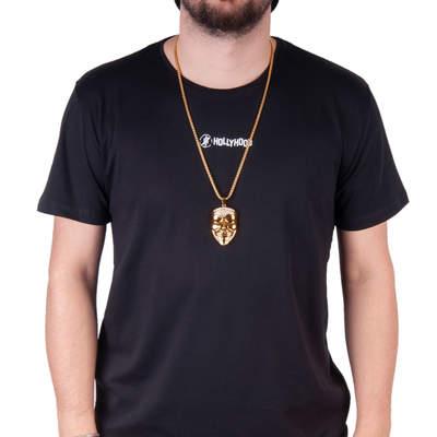 Mask Büyük Taşlı HipHop Gold Kolye