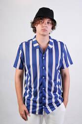 HollyHood - Mavi Beyaz Hardal Çizgili Gömlek