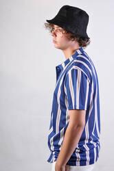 Mavi Beyaz Hardal Çizgili Gömlek - Thumbnail