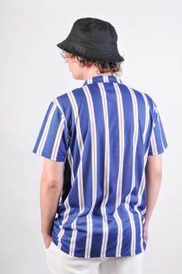 Mavi Beyaz Hardal Çizgili Gömlek