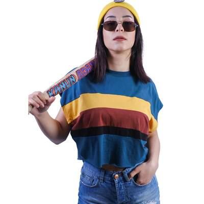 - Mavi Renkli Çizgili Crop T-shirt