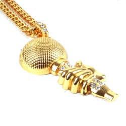 HollyHood - Microphone Style Taşlı Büyük HipHop Gold Kolye