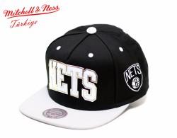 Mitchell And Ness - Nets Siyah Beyaz Snapback Cap - Thumbnail