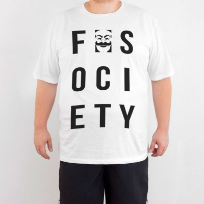 Bant Giyim - Mr. Robot F. Society 4XL Beyaz T-shirt