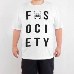 Bant Giyim - Mr. Robot F. Society 4XL Beyaz T-shirt - Thumbnail