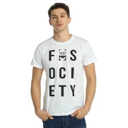 Bant Giyim - Mr. Robot F. Society Beyaz T-shirt - Thumbnail
