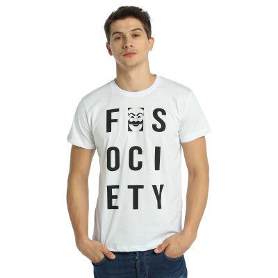 Bant Giyim - Mr. Robot F. Society Beyaz T-shirt