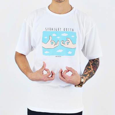 Mushroom Buca Hand Sign Beyaz T-shirt