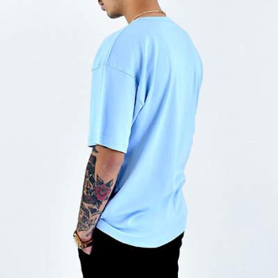 Mushroom Logo Embroidered Blue T-shirt