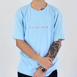 Mushroom Logo Embroidered Blue T-shirt - Thumbnail