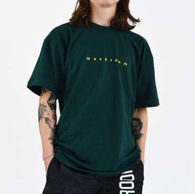 Mushroom Logo Embroidered Green T-shirt