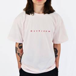 Mushroom Logo Embroidered Pink T-shirt - Thumbnail
