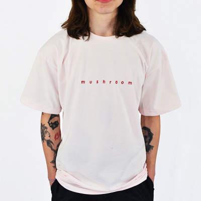 Mushroom Logo Embroidered Pink T-shirt