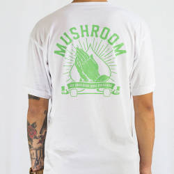 Mushroom Praying Hands Green T-shirt - Thumbnail
