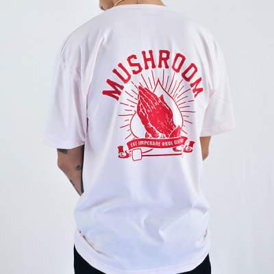 Mushroom Praying Hands Pink T-shirt