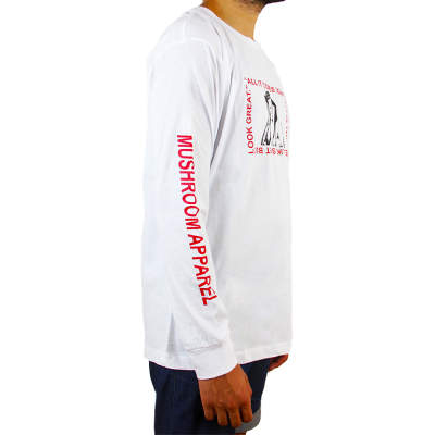 Mushroom Psycho Beyaz Uzun Kollu T-shirt