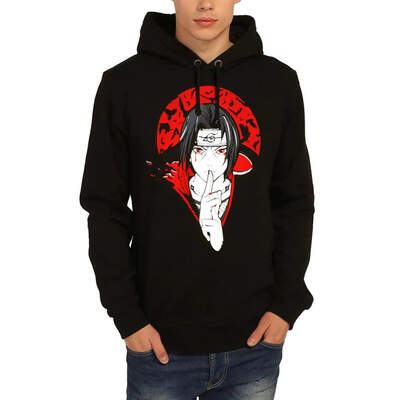 Bant Giyim - Naruto Itachi Siyah Kapşonlu Hoodie