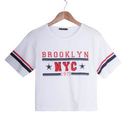 Brooklyn NYC Kadın Beyaz T-shirt - Thumbnail