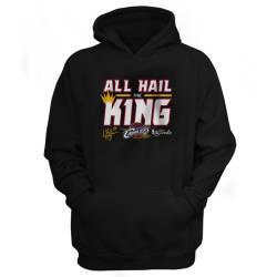 NBA - Cleveland Cavaliers 'All Hail The King' Siyah Cepli Hoodie - Thumbnail