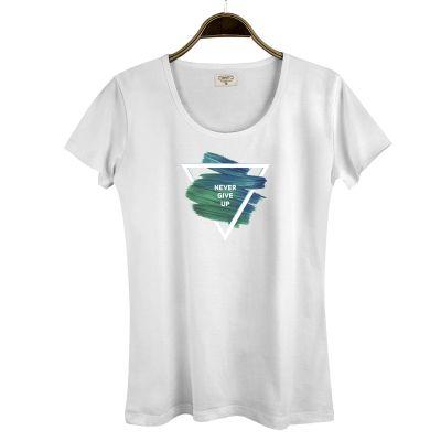 HH - Street Design Never Give Up Kadın Beyaz T-shirt
