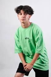 OHBRO Açık Yeşil Basic Oversize Tişört - Thumbnail