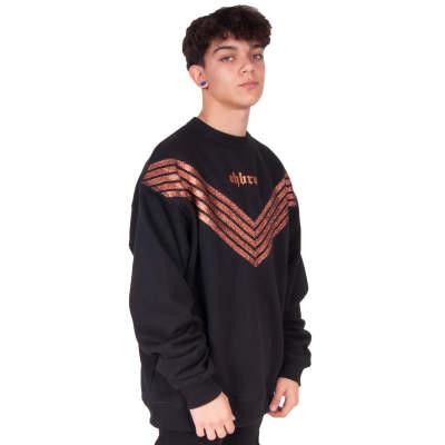 HollyHood - Ohbro Bakır Şeritli Siyah Sweatshirt