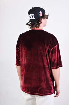 Bordo Kadife Oversize Tişört