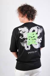 HH Dragon Baskılı Oversize Unisex Tişört - Thumbnail
