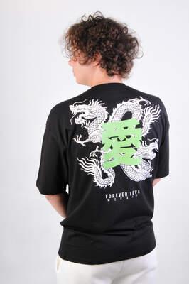 HH Dragon Baskılı Oversize Unisex Tişört