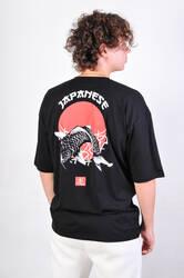 OhBro Japanese Siyah Oversize Tişört - Thumbnail