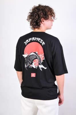 OhBro Japanese Siyah Oversize Tişört