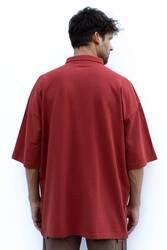 Kiremit Rengi Polo Yaka Oversize T-shirt - Thumbnail