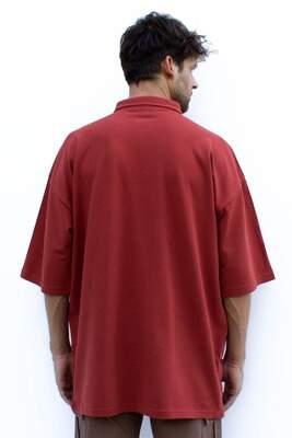 Kiremit Rengi Polo Yaka Oversize T-shirt