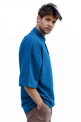 HollyHood - Mavi Polo Yaka Oversize T-shirt