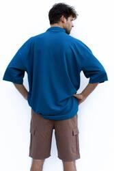 Mavi Polo Yaka Oversize T-shirt - Thumbnail